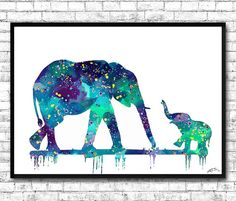 Mom and cute Baby Elephant 3 Watercolor print Blue by ArtsPrint