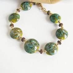 Art Glass Bracelet Gold Fill Copper Blue Olive by ShooglyBeads, £35.00