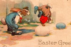 Easter Post Card w/ Dressed Rabbits