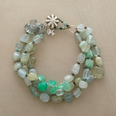 """WAVES BRACELET--Like waves of aquamarine nuggets washing treasures ashore, each strand brings its own surprises: chrysoprase cubes and briolettes and smooth prehnite pebbles. Exclusive. Sterling silver button clasp. Approx. 7-1/4""""L."""