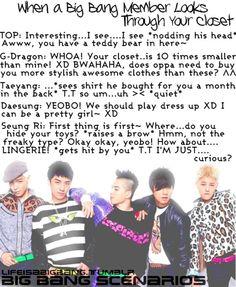 Admins: Aying & Kim Mainly: Big Bang Scenarios :) adapted/inspired by: Ohsnapitsdongwoon Note:. Top Bigbang, Daesung, Big Bang Scenarios, Bts Scenarios, Bigbang Members, Big Bang Kpop, Bang Bang, You Scare Me, Korean Star