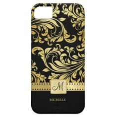 Elegant Black & Gold Damask with Monogram iPhone 5 Case #fav#apple#style