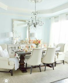 Blue Dining Rooms. My future dining room Kelley Nan  Summer Home Showcase blue in Sherwin