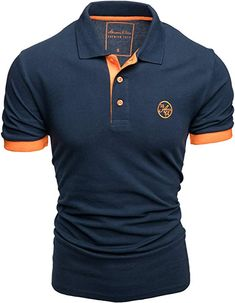Amaci&Sons Herren Poloshirt Basic Kontrast Stickerei Kurzarm Polohemd T-Shirt 5103 Navyblau/Orange XL: Amazon.de: Bekleidung