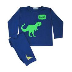 Personalised T Rex Dinosaur Pyjamas  #dinosaurgiftideas #dinosaurgiftideasfortoddlers #personaliseddinosaurgiftideas