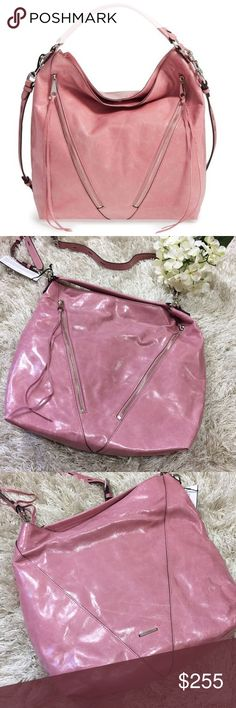💖✨Host Pick✨💖 Rebecca Minkoff Moto Hobo Rebecca Minkoff Pink Moto Hobo. Genuine leather with two beautiful zip pockets on front. Snap closure. Interior has three slip pockets and one zip pocket. Top handle with additional detachable strap. Dust bag included. Feel free to ask questions! 💖 Rebecca Minkoff Bags Hobos