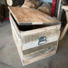 """409 Likes, 17 Comments - The Stump Shop (@thestumpshop) on Instagram: """"#progresspic 2 . I sanded and added some hardware to this #reclaimed #pallet #chest. . Still have…"""""""