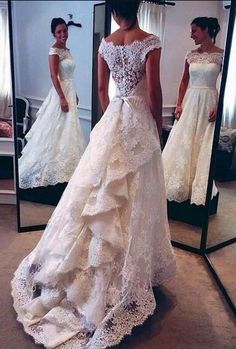 Lace Wedding Dress,Mermaid Cheap Wedding Dress, Vintage Wedding