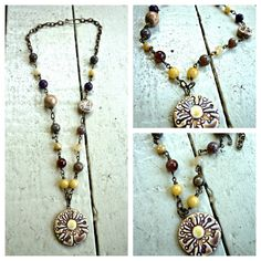 Daisy necklace Purple agate yellow jade by McKeeJewelryDesigns