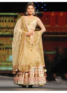 Blouse Fabric Dhupian Bottom Fabric Net Celebrity Gauhar Khan Colour Gold Dupatta Fabric Net Fabric Satin, Net Fabric Care Dry Clean Only Occasion Festival, Reception, Ceremonial Shipping time 7 days Type Bollywood Lehenga Choli Work Embroidered
