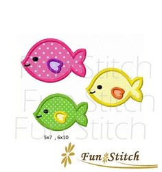 school of fish applique machine embroidery design on Etsy, $2.00