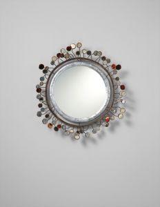 Arte Y Antigüedades Bright Espejo De Pared Oro Blanco Ovalado 45x38 Barroca Antiguo Reproducción Vintage