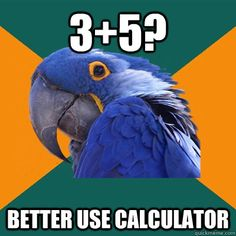 paranoid parrot uses calculator.