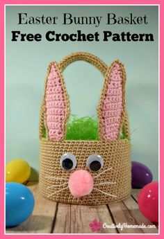 Create a handmade Easter basket your kids will cherish forever with this free Easter Bunny basket crochet pattern. This fun and creativ. Easter Crochet Patterns, Crochet Bunny, Free Crochet, Crochet Ideas, Boys Easter Basket, Easter Baskets, Easter Bunny, Bunny Crafts, Easter Crafts