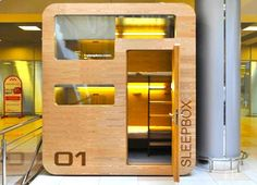 Sleep box, only about 43 sq.ft. with room for 3 people to take a power nap during an airport layover.