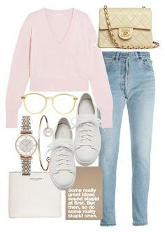 """""""Untitled #21761"""" by florencia95 ❤ liked on Polyvore featuring RE/DONE, Yves Saint Laurent, Chloé, Santoni, Chanel, American Apparel, Emporio Armani and Letters By Zoe"""