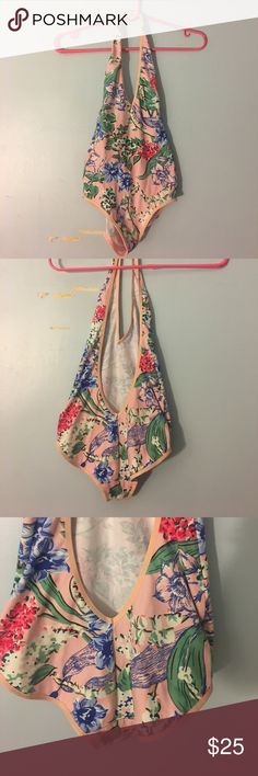 American apparel floral halter bodysuit Light pink American apparel halter bodysuit with a very low cut back. Print is pink blue and white DARLING flowers. Never worn Intimates & Sleepwear