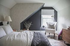Houzz Room of the Day: Guest Bedroom Makeover Addresses All the Angles An angled ceiling and angled walls are no challenge for a creative designer and her open-minded clients Angled Bedroom, Room Interior, Interior Design, Angled Ceilings, Dark Grey Walls, Upstairs Bedroom, Kids Bedroom, Master Bedroom, Transitional Bedroom