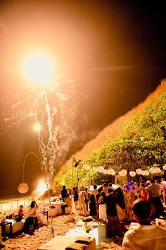 Weddings | A grande party finale, fireworks at Nammos Beach Club. #Bali.