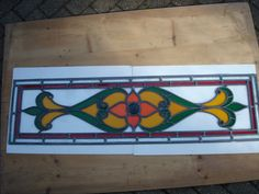 "VINTAGE STAINED GLASS DOOR PANEL APPROX. 46.5"" TALL AND 12.5"" ACROSS DAMAGED"