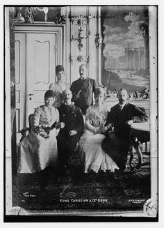 The children of King Christian IX and Queen Louise of Denmark. A very successful group of offspring.     Back: Queen Alexandra of the United Kingdom, King Frederick VIII of Denmark.    Front: Tsarina Marie Feodorovna of Russia, King George I of Greece, Crown Princess Thyra of Hanover (Duchess of Cumberland) and Prince Valdemar of Denmark.