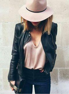 Leather jacket & pink hat