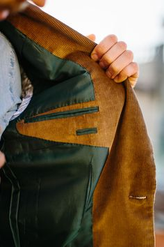 Sartoria Pirozzi corduroy suit lining green Japan Fashion, Mens Fashion, Korea Fashion, India Fashion, Modern Outfits, Cool Outfits, Brown Corduroy Jacket, Yellow Pants, Formal Suits