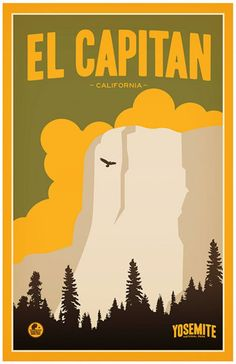 El Capitan, Yosemite National Park Giclee Art Print Poster from Original Illustration by Artist Matt Brass x Us National Parks, Yosemite National Park, Voyage Usa, West Coast Road Trip, California Camping, California Art, Illustration, Vintage Travel Posters, State Parks