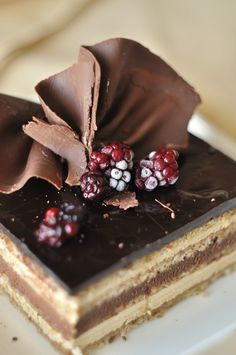 """""""Opera cake,"""" created in France during the late 17th Century and still famous today (popularized at its inception by a little patisserie near the French Opera House in Paris)"""