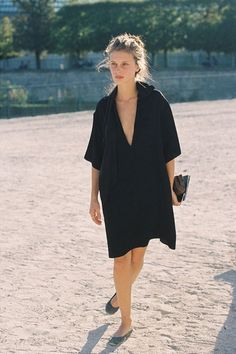 Marine Vacth Lovely black one-piece dress. So effortless...