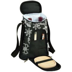 Two Bottle Carrier and Cheese set in Night Bloom Pattern by Picnic at Ascot. This backpack keeps your wine and cheese chilled while wrapped in a quirky and fun floral pattern. The perfect gift for a picnic lover or wine enthusiast. who loves the outdoors.