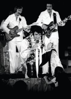 """Elvis' band: """"In rehearsals, and on stage, Elvis keyed off the guitar,"""" says James Burton. """"We had great eye contact. He loved guitar. If I'd play a lick or something, he would just turn around and say, 'Yeah, baby!' It was a great communication that all of us had."""""""