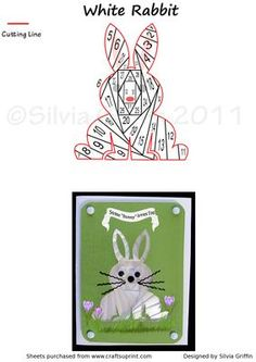 White Bunny IF on Craftsuprint designed by Silvia Griffin - Cute little Bunny for many occasions. Birthdays, Valenitnes, get well and more. Made him easy to cut out.  - Now available for download!