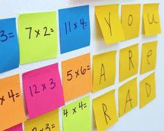 Post-it Notes Math Activity For Kids, gives a creative twist to math activity. Easy Math Games, Math Activities For Kids, Fun Math, Learning Games, Teaching Multiplication, Teaching Math, Maths, Math Classroom, Teaching Ideas