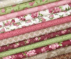 """Twelve different romantic fabrics from Maywood Studios Graceful Moments collection make up this bundle of fabrics. Wonderful shades of pink, deep red, green, tan, brown, white, and ivory combine in this gorgeous floral fabric collection. 100% cotton quilt store quality fabric 44/45"""" width Fat quarter = 18 x 22  Back to my shop: http://www.etsy.com/shop/fabric406  Please Like or Follow fabric406 on social media for the weekly specials, newly arrived fabrics, tips, and quilting inspiration…"""