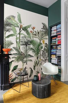 A large tropical wallpaper on a white background. A lovely choice of wallpaper for a nursery childs room. Non Woven Wallpaper (paste the wall application) Dining Room Wallpaper, Home Wallpaper, Nature Wallpaper, Latest Wallpaper, Wallpaper Designs, Contemporary Wallpaper, Contemporary Style, Home Design, Easy To Remove Wallpaper