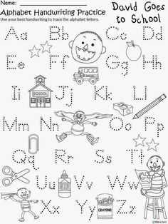 Free No David (by David Shannon) Alphabet Capital and Lowercase Letters Handwriting Practice. For Educational Purposes Only. Freebie for a teacher from a teacher. Regina Davis aka Queen Chaos at Fairy Tales And Fiction By Beginning Of The School Year, First Day Of School, Alphabet Activities, Book Activities, 1. September, Christmas Coloring Sheets, Kindergarten Literacy, No David Kindergarten, Kindergarten Ice Breakers