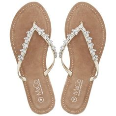 M&Co Teardrop Diamante Flip Flops ($27) ❤ liked on Polyvore featuring shoes, sandals, flip flops, flats, gold, flats sandals, gold flat shoes, flat shoes, gold flip flops and gold shoes
