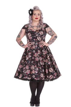 Hell Bunny Plus Calavera Day of the Dead Flower Sugar Skull Black Party Dress > Details can be found  : Women clothing