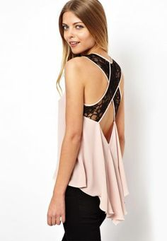 Pink Lace Criss Cross Dipped Hem Chiffon Top