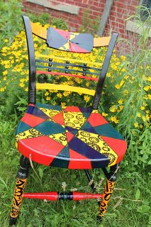 "Several weeks ago a friend approached me asking ""Would you be interested in decorating a chair?"" The town of Morris, IL was trying somethin. Charity, Craft Projects, Auction, Crafting, Home And Garden, Happy, Decor, Art, Dekoration"