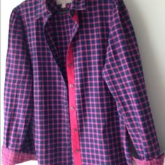 Banana Republic checked blouse Purple/pink checked blouse. Long sleeve. Size L. Excellent condition. Banana Republic Tops Blouses