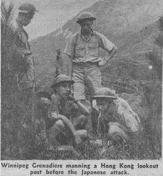 Winnipeg Grenadiers manning a machine gun post in Hong Kong, December 1941