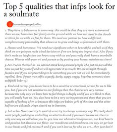 Top 5 qualities that INFPs look for in a soulmate -- woah... This is terrifyingly accurate.