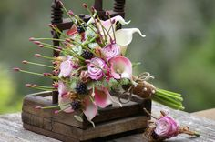 Wedding Bouquet and FREE Boutonniere Pink by jcmArtandDesign
