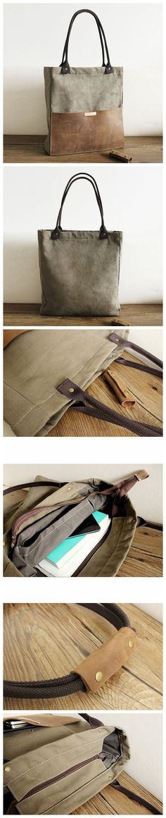 Handcrafted Canvas and Leather Casual Tote Bag Shopper Bag Handbag Shoulder Bag 14051