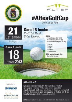 L'ultima gara dell' #AlteaGolfCup si gioca a Bologna! Sabato 21 settembre il Golf Club Le Fonti ospiterà i nostri players nelle ultime 18 buche prima della sfida finale di ottobre! Chi riuscirà a qualificarsi? Segui tutti gli aggiornamenti sui nostri Social Channel, oppure vieni a conoscerci di persona! More info: www.alteanet.it