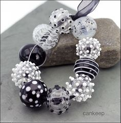 CK Lampwork Beads Black White Hollows Set of 10 Hollows SRA Handmade  | eBay