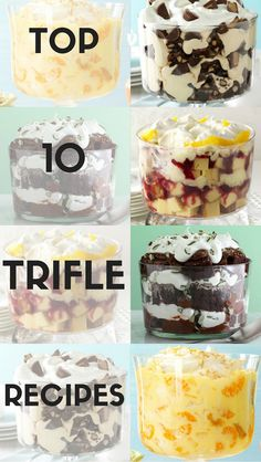 Top 10 Trifle Recipes from Taste of Home | Including: Strawberry Trifle, Peanut Butter Brownie Trifle, Pineapple Orange Trifle, Raspberry Cheesecake Trifle, Cranberry-Orange Trifle, Chocolate Trifle, Lemon Delight Trifle and more!