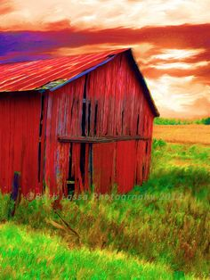 Red Barn Painted Fall Intense Color Photograph by barblassa